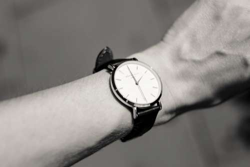 Female wristwatch in black and white