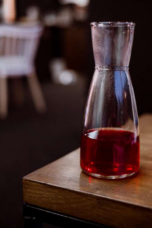Fruit tea in a glass tea pot