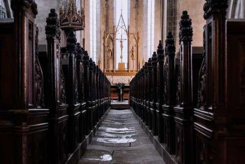 Gothic church aisle