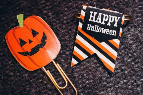 Happy Halloween and a pumpkin paperclips