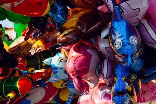 Helium cartoon balloons closeup