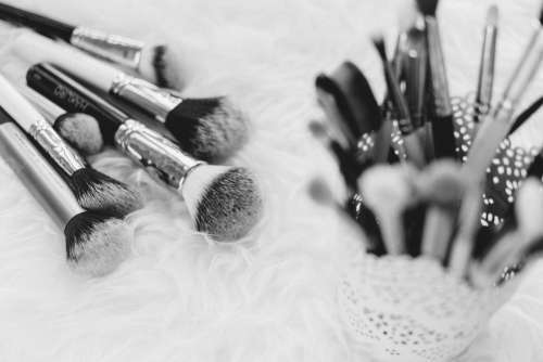 Makeup brushes in b&w