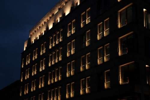 Modern building windows at night