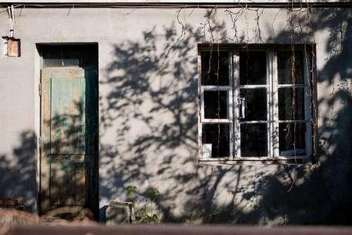 Old house front door and window