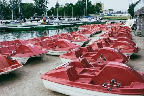 Paddle boats at the lake harbor 2