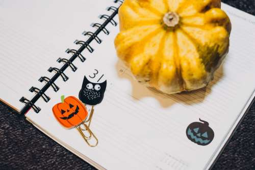 A pumpkin and an owl paperclips in a calendar