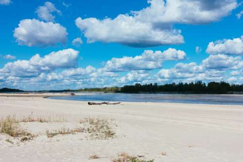 Sandy beach at the river