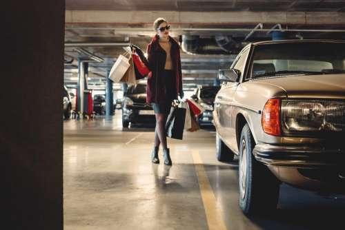 Shopping freak in the parking lot