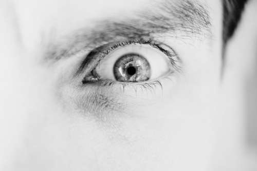 Single male eye in black and white 2