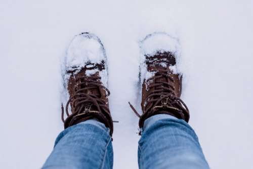 Snow covered shoes