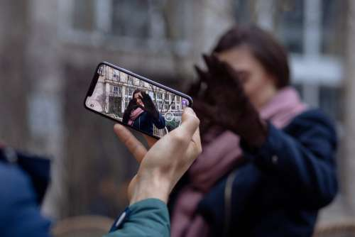 Taking a photo with an iPhone X