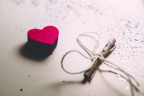 Tiny letter and a wooden heart