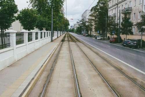 Tram railway along the street