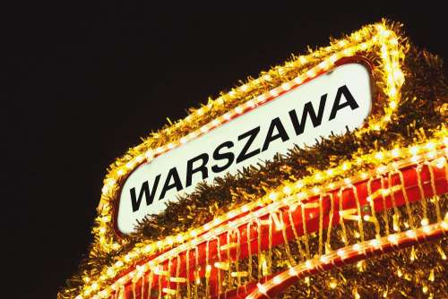 Warsaw sign in Christmas lights