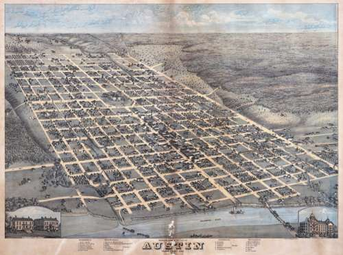 1873 Illustration of Edwin Waller's layout for Austin, Texas free photo