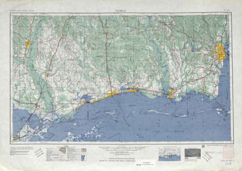 1953 map of the Mississippi Gulf Coast around Gulfport free photo