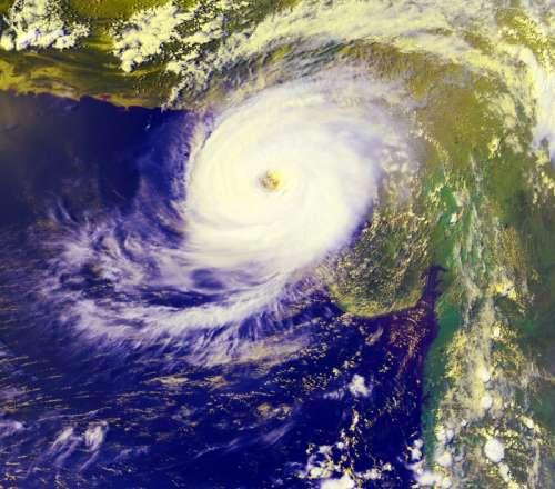 1999 Cyclone making Landfall near Karachi, Pakistan free photo