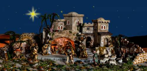 Christmas Decorations with Jesus in Manger  free photo