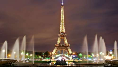 Eiffel Tower lighted at Night free photo