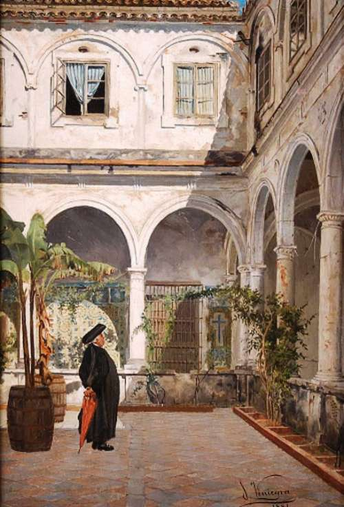 Patio of the Convent of San Francisco in 1881 in Cadiz, Spain free photo