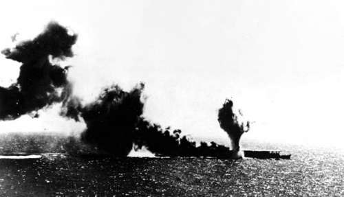 Shoho is bombed and Torpedoed by US Aircraft during Battle of Coral Sea, World War II free photo