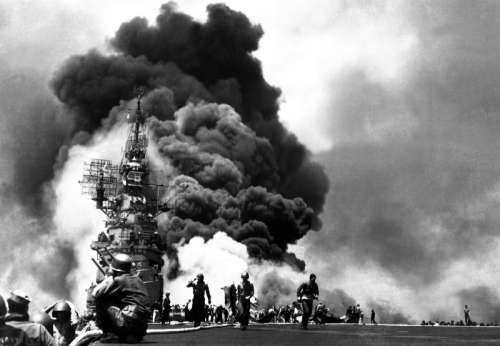 USS Bunker Hill after being hit with Kamikaze Planes at Okinawa, World War II free photo