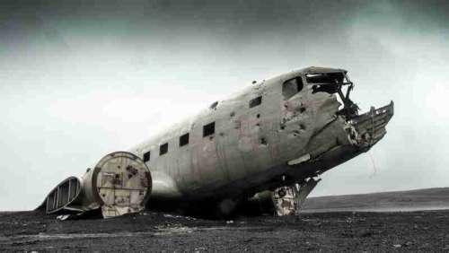 A Crashing airplane on the ground free photo