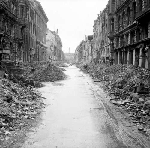 A devastated street in the city centre just off the Unter den Linden after Battle of Berlin free photo