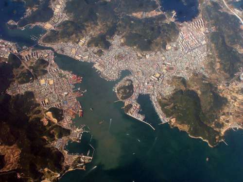 Aerial photo of Tongyeong, South Korea free photo