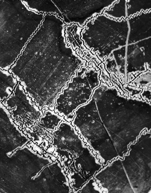Aerial Photograph of German Trenches during World War I free photo