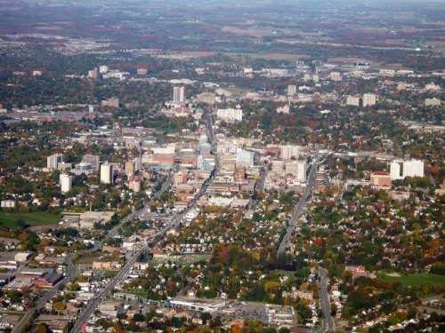 Aerial View of Downtown Kitchener in Ontario, Canada free photo