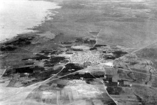 Aerial view of Isdud pre 1935 in Ashdod, Israel free photo