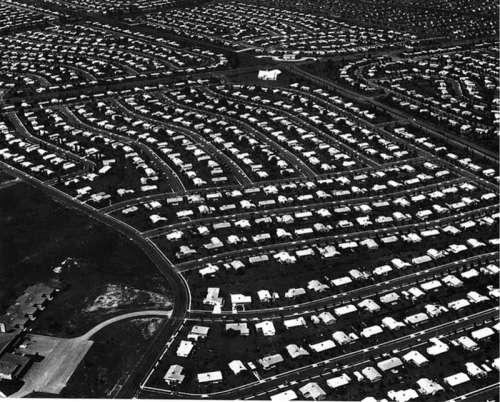 Aerial view of Levittown circa 1959 in Pennsylvania free photo
