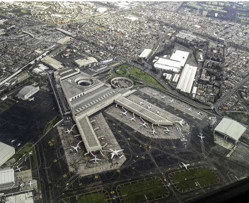 Aerial View of Mexico City from the airport free photo