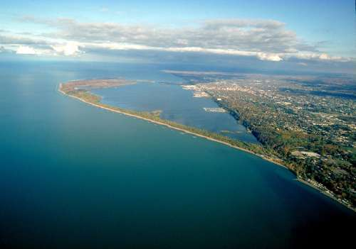 Aerial view of Presque Isle State Park in Erie, Pennsylvania free photo