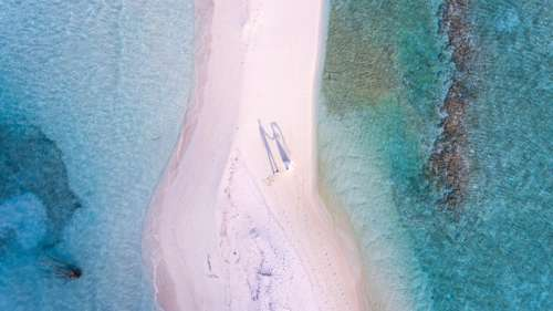 Aerial View of the Sandy Beach in the Maldives free photo