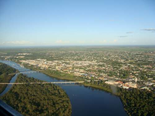 Aerial view to the east of Bundaberg, Queensland, Australia free photo