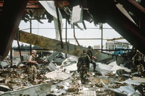 Aftermath of an Iraq Armed Forces strike on US barracks during the Gulf War free photo