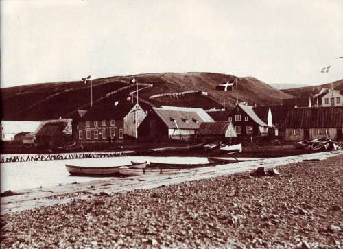 Akureyri in the late 19th century in Iceland free photo