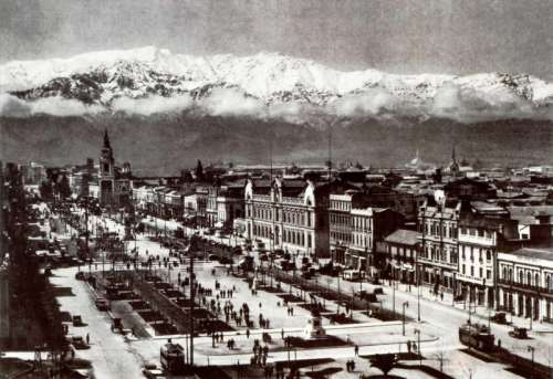 Alameda view of Santiago, Chile in 1930 free photo