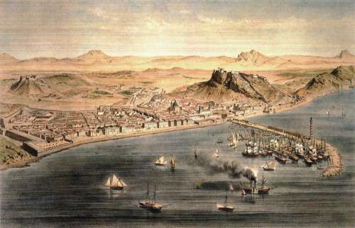 Alicante around year 1832 in Spain painting free photo