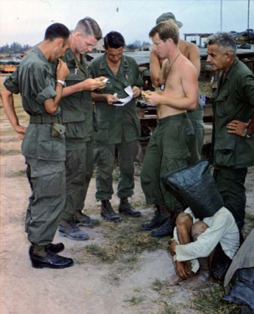 Alleged Viet Cong activist, captured during an attack on an American outpost during Vietnam War free photo
