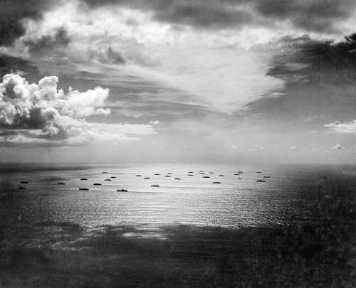 Allied Convoy crossing the Atlantic during World War II free photo
