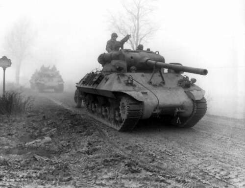American M36 tank destroyers during Battle of the Bulge during World War II free photo