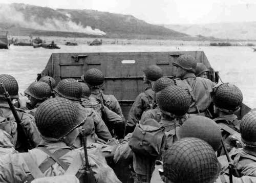 American troops approaching Omaha Beach on Normandy Beach, D-Day, World War II free photo