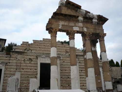 Ancient Roman temple in Brescia, Italy free photo