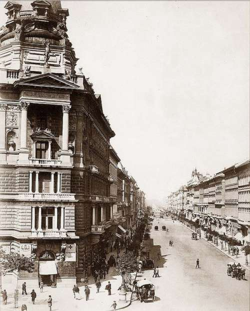 Andrássy Avenue streets and buildings in Budapest, Hungary free photo