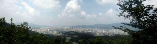 Anyang city panorama in South Korea free photo