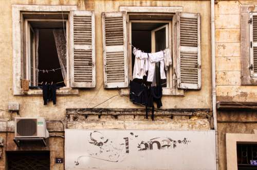 Apartment Windows in Marseille, France free photo