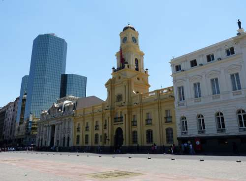 Architecture and buildings on the streets in the Santiago, Chile free photo